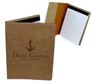 Delta Gamma Mascot Leatherette Portfolio with Notepad
