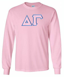 Delta Gamma Lettered Long Sleeve Tee- MADE FAST!