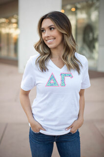 DISCOUNT-Delta Gamma Lettered V-Neck Tee