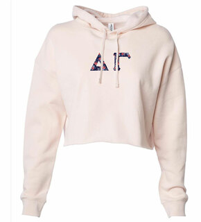 Delta Gamma Lightweight Hooded Pullover Crop Sweatshirt