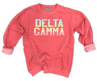 Delta Gamma Pastel Rainbow Crew - Comfort Colors