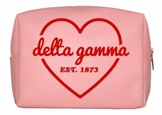 Delta Gamma Pink with Red Heart Makeup Bag
