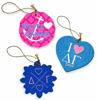 Delta Gamma Porcelain Ornament Trio Set