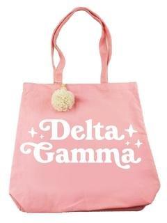 Delta Gamma Retro Pom Pom Tote Bag