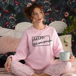 Delta Gamma Script Box Crewneck Sweatshirt