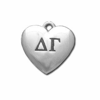 Delta Gamma Silver Greek Heart Charm