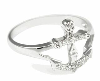Delta Gamma Sterling Silver Anchor Ring set with Lab-created Diamonds
