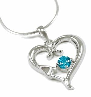 Delta Gamma Sterling Silver Heart Pendant with Blue Crystal