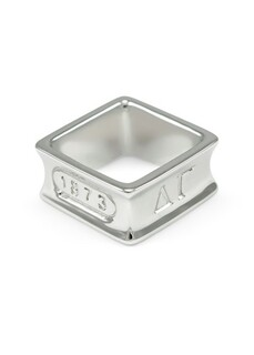 Delta Gamma Sterling Silver Square Ring