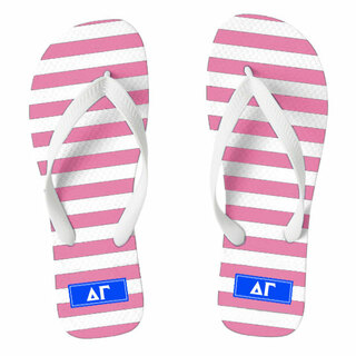 Delta Gamma Striped Flip Flops