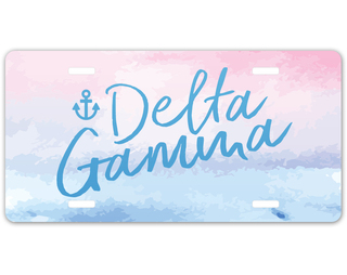 Delta Gamma Watercolor Script License Plate