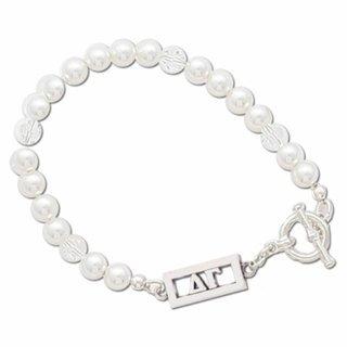 Delta Gamma White Pearl & Clear Bracelet