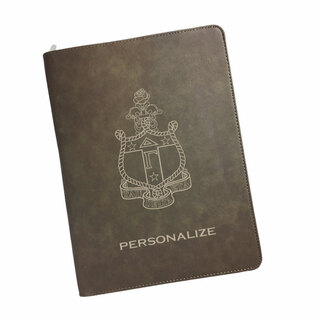 Delta Gamma Zipper Leatherette Portfolio with Notepad