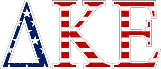 "Delta Kappa Epsilon American Flag Greek Letter Sticker - 2.5"" Tall"