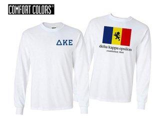 Delta Kappa Epsilon Flag Long Sleeve T-shirt - Comfort Colors