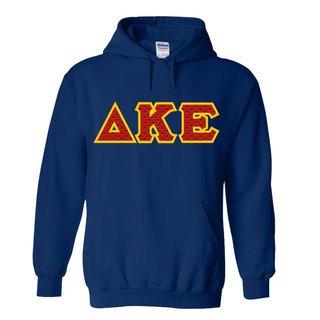Delta Kappa Epsilon Fraternity Crest - Shield Twill Letter Hooded Sweatshirt