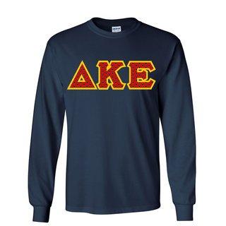 Delta Kappa Epsilon Fraternity Crest - Shield Twill Letter Longsleeve Tee