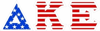 "Delta Kappa Epsilon Giant 4"" American Flag Greek Letter Sticker"