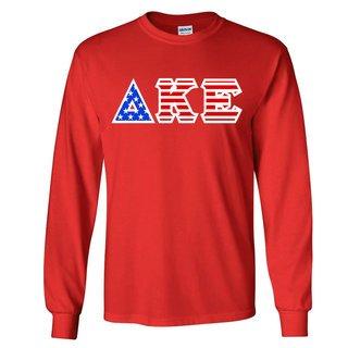 Delta Kappa Epsilon Greek Letter American Flag long sleeve tee