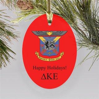 Delta Kappa Epsilon Holiday Color Crest - Shield Ornament