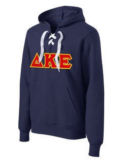 DISCOUNT-Delta Kappa Epsilon Lace Up Pullover Hooded Sweatshirt