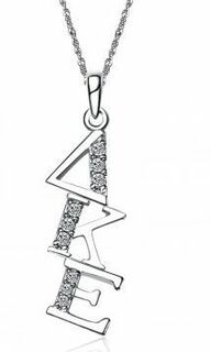 Delta Kappa Epsilon Sweet Heart Diagonal Silver Lavalier