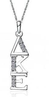 Delta Kappa Epsilon Sweet Heart Vertical Silver Lavalier