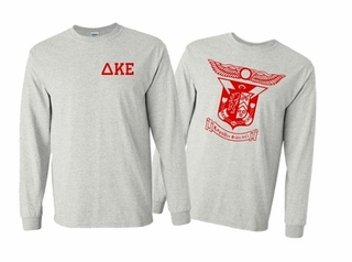 Delta Kappa Epsilon World Famous Crest Long Sleeve T-Shirt- MADE FAST!