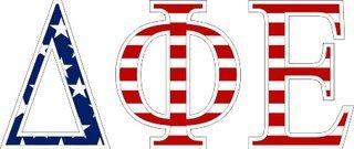 """Delta Phi Epsilon American Flag Greek Letter Sticker - 2.5"""" Tall"""