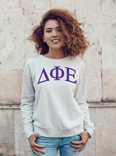 Delta Phi Epsilon Arched Greek Lettered Crewneck Sweatshirt