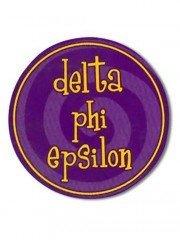 """Delta Phi Epsilon Bumper Stickers 4"""" Round"""