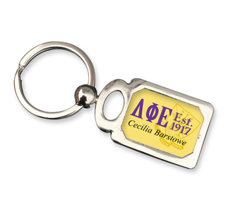 Delta Phi Epsilon Chrome Crest Key Chain