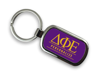 Delta Phi Epsilon Chrome Custom Keychain
