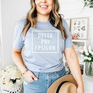 Delta Phi Epsilon Comfort Colors Box Tee