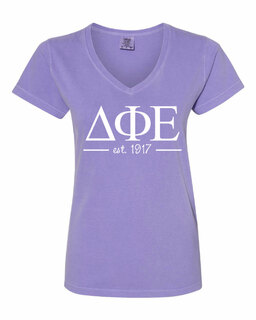 Delta Phi Epsilon Comfort Colors Custom V-Neck T-Shirt