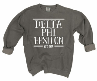 Delta Phi Epsilon Comfort Colors Custom Crewneck Sweatshirt