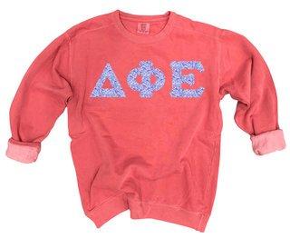 Delta Phi Epsilon Comfort Colors Lettered Crewneck Sweatshirt