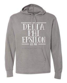 Delta Phi Epsilon Comfort Colors Terry Scuba Neck Custom Hooded Pullover