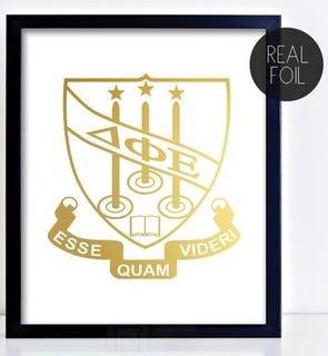 Delta Phi Epsilon Crest - Shield Foil Print