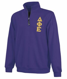 Delta Phi Epsilon Crosswind Quarter Zip Twill Lettered Sweatshirt