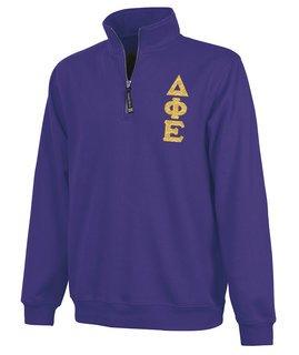 Delta Phi Epsilon Crosswind Quarter Zip Twill Lettered Sweatshirt