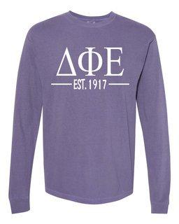 Delta Phi Epsilon Custom Greek Lettered Long Sleeve T-Shirt - Comfort Colors