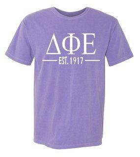 Delta Phi Epsilon Custom Greek Lettered Short Sleeve T-Shirt - Comfort Colors