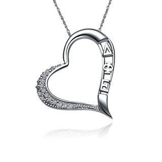 Delta Phi Epsilon Embedded Heart Silver  Lavaliere