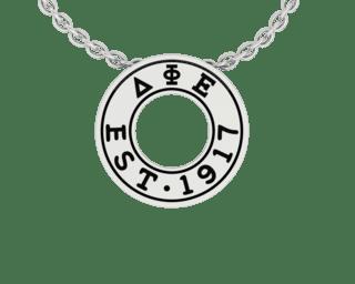 Delta Phi Epsilon Eternity Silver Charm Lavalier