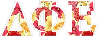 "Delta Phi Epsilon Floral Greek Letter Sticker - 2.5"" Tall"