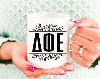 Delta Phi Epsilon Floral Letters Mug