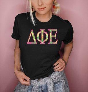 Delta Phi Epsilon Flower Garden Lettered Short Sleeve T-Shirt