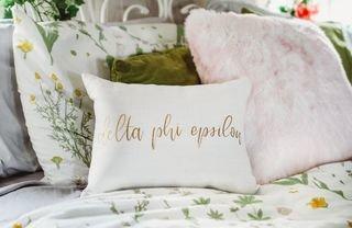 Delta Phi Epsilon Gold Imprint Throw Pillow