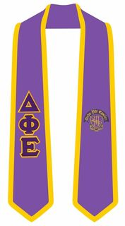 Delta Phi Epsilon Greek 2 Tone Lettered Graduation Sash Stole